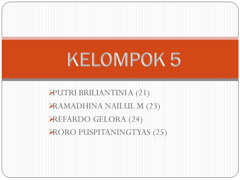  PUTRI BRILIANTINI A (21)  RAMADHINA NAILUL M (23)  REFARDO GELORA (24)  RORO PUSPITANINGTYAS (25)