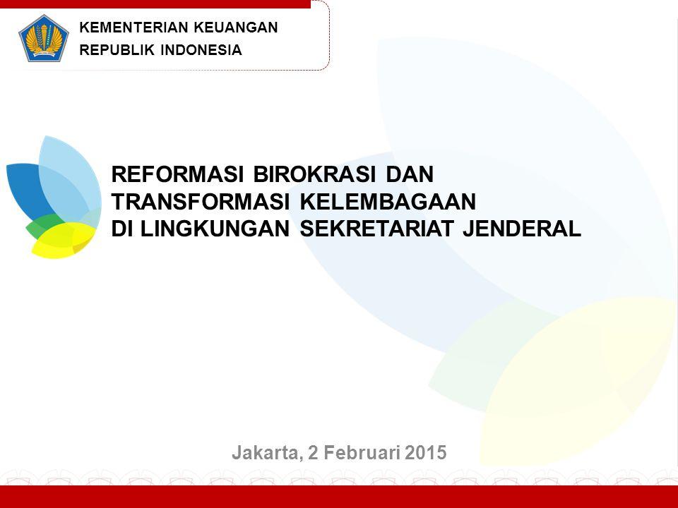 Program Transformasi Kelembagaan Kementerian Keuangan ditetapkan dengan Keputusan Menteri Keuangan Nomor 36/KMK.01/2014 tanggal 5 Februari 2014 tentang Cetak Biru Program Transformasi Kelembagaan Kementerian Keuangan Tahun 2014-2025.