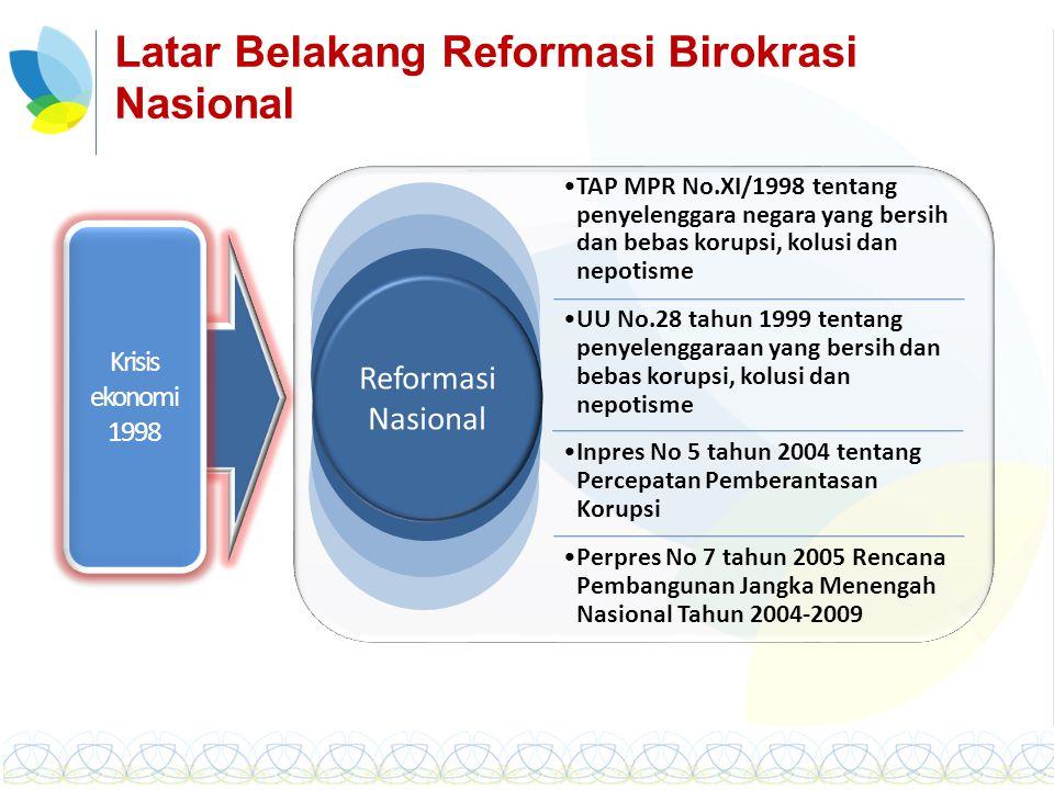 Latar Belakang Reformasi Birokrasi Nasional Krisis ekonomi 1998 Reformasi Nasional TAP MPR No.XI/1998 tentang penyelenggara negara yang bersih dan beb