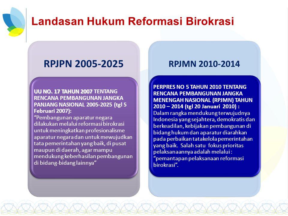 Reformasi Pengelolaan Keuangan Negara Pelayanan Publik Peningkatan Kinerja Good Governance Kepercayaan Publik Penataan Organi- sasi Penyempur naan Proses Bisnis Peningka- tan Disiplin & Manaje- men SDM Indikator Kinerja Utama Remunerasi 9 Program KemenPAN RB (8 Area Perubahan + Monev) 1 Pola Pikir dan Budaya Kerja (Manajemen Perubahan) 2 Penataan Peraturan Perundang- undangan 3 Penataan dan Penguatan Organisasi 4 Penataan Tatalaksana 5 Penataan Sistem SDM Aparatur 6 Penguatan Pengawasan 7 Penguatan Akuntabilitas Kinerja 8 Peningkatan Kualitas Pelayanan Publik 9 Monitoring dan Evaluasi 9 PROGRAM REFORMASI BIROKRASI NASIONAL