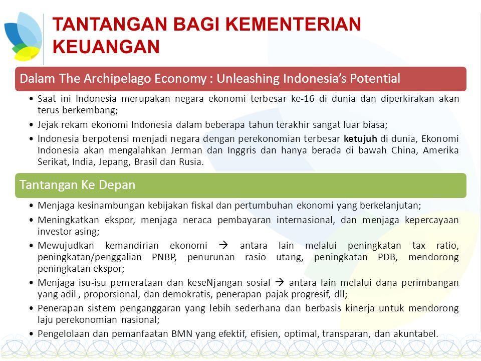 TANTANGAN BAGI KEMENTERIAN KEUANGAN Dalam The Archipelago Economy : Unleashing Indonesia's Potential Saat ini Indonesia merupakan negara ekonomi terbe
