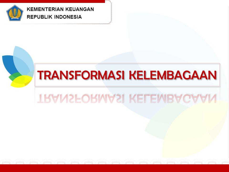 TAHAPAN, ELEMEN DAN UNIT FOKUS PROGRAM TK TAHAPAN Tahap I (Fase diagnostik) April – Juli 2013 Tahap II (Fase Penyusunan Rencana Strategis) Juli – Desember 2013 Fase Implementasi (dilakukan secara mandiri mulai tahun 2014) ELEMEN Proses bisnis dan model operasional; Kapasitas, kapabilitas, struktur organisasi; Tata kelola, risiko dan kepatuhan; Teknologi informasi dan komunikasi; Manajemen SDM; Peraturan perundang-undangan; Manajemen perubahan dan komunikasi UNIT FOKUS Pada hakekatnya mencakup seluruh unit eselon I, dengan titik berat pada Setjen, Ditjen Pajak, Ditjen Bea dan Cukai, Ditjen Perbendaharaan, Ditjen Anggaran