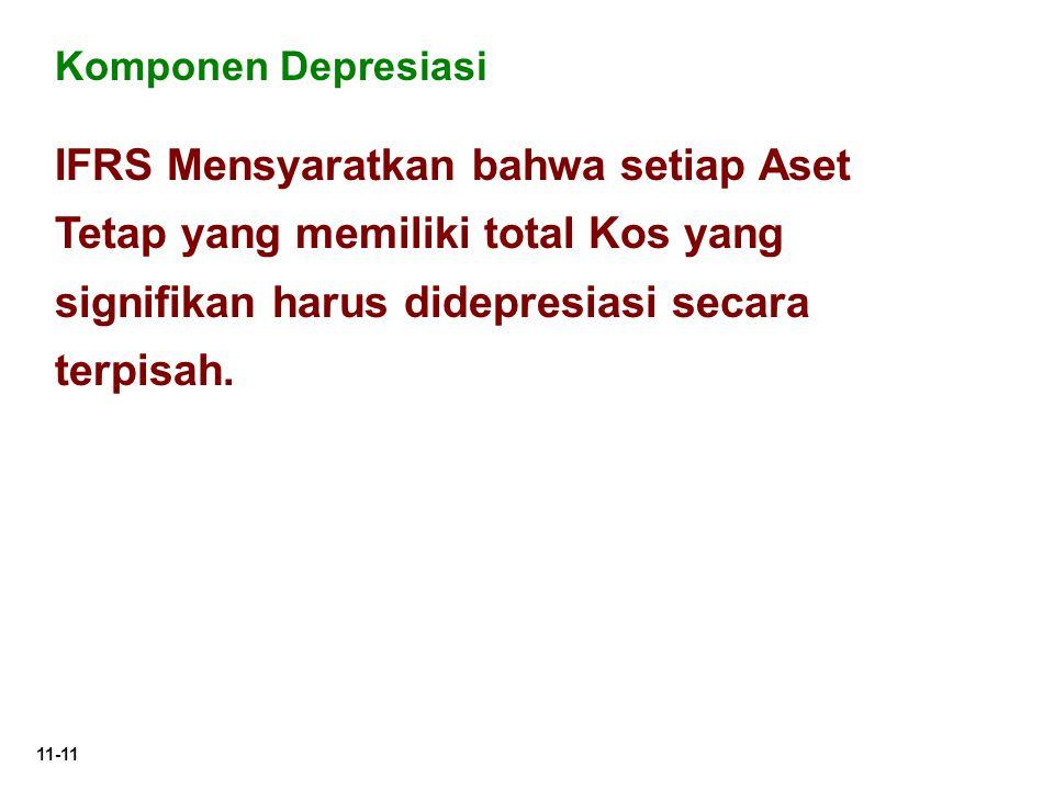 11-11 IFRS Mensyaratkan bahwa setiap Aset Tetap yang memiliki total Kos yang signifikan harus didepresiasi secara terpisah. Komponen Depresiasi