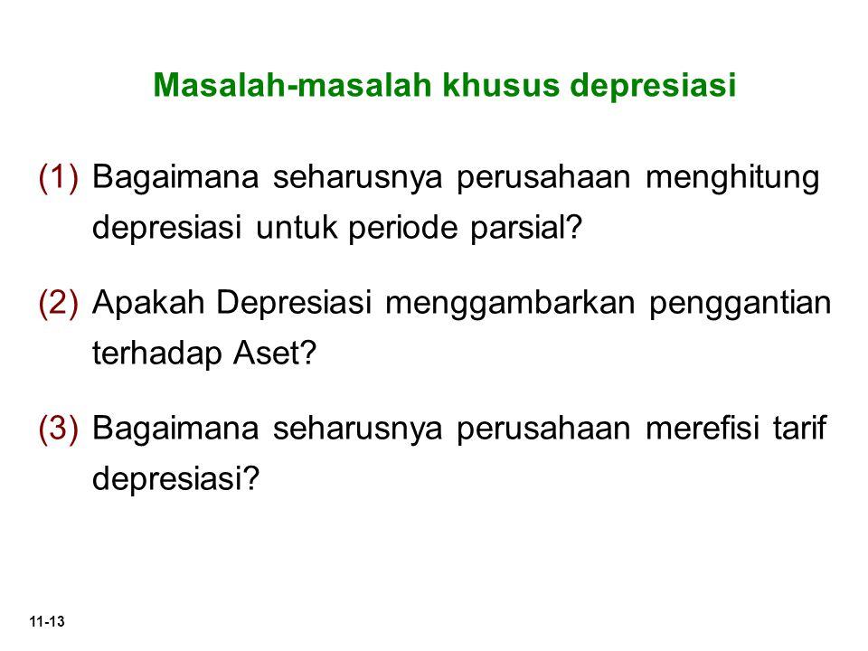 11-13 Masalah-masalah khusus depresiasi (1) (1)Bagaimana seharusnya perusahaan menghitung depresiasi untuk periode parsial? (2) (2)Apakah Depresiasi m