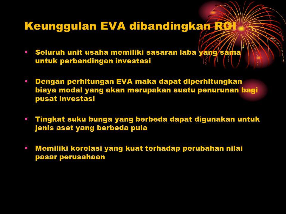 Keunggulan EVA dibandingkan ROI Seluruh unit usaha memiliki sasaran laba yang sama untuk perbandingan investasi Dengan perhitungan EVA maka dapat dipe