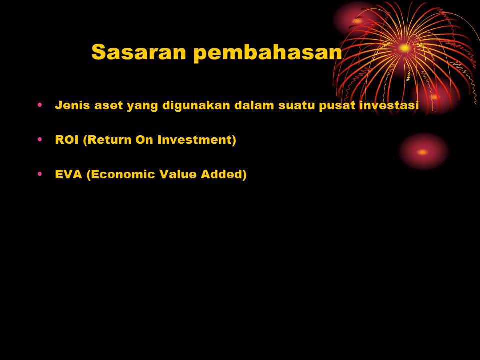 Sasaran pembahasan Jenis aset yang digunakan dalam suatu pusat investasi ROI (Return On Investment) EVA (Economic Value Added)