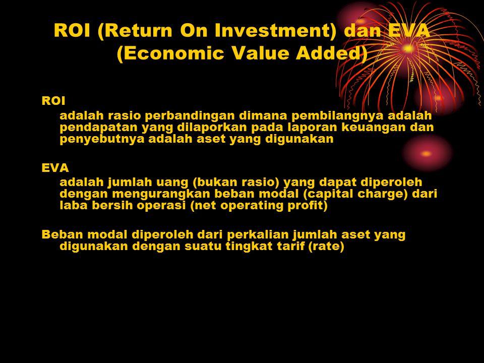 ROI (Return On Investment) dan EVA (Economic Value Added) ROI adalah rasio perbandingan dimana pembilangnya adalah pendapatan yang dilaporkan pada lap