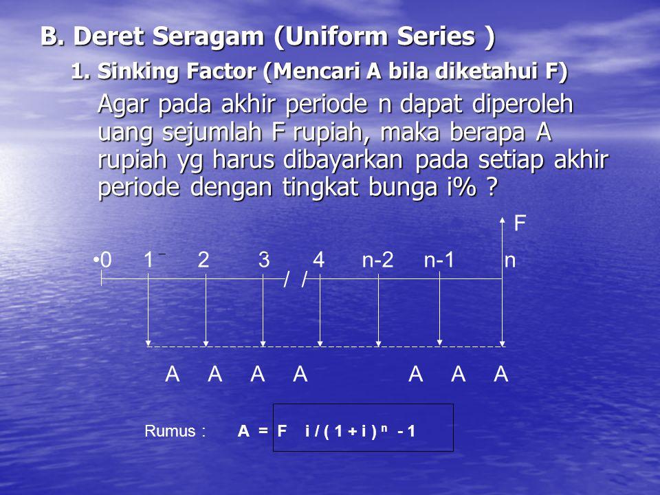 B. Deret Seragam (Uniform Series ) 1. Sinking Factor (Mencari A bila diketahui F) 1. Sinking Factor (Mencari A bila diketahui F) Agar pada akhir perio