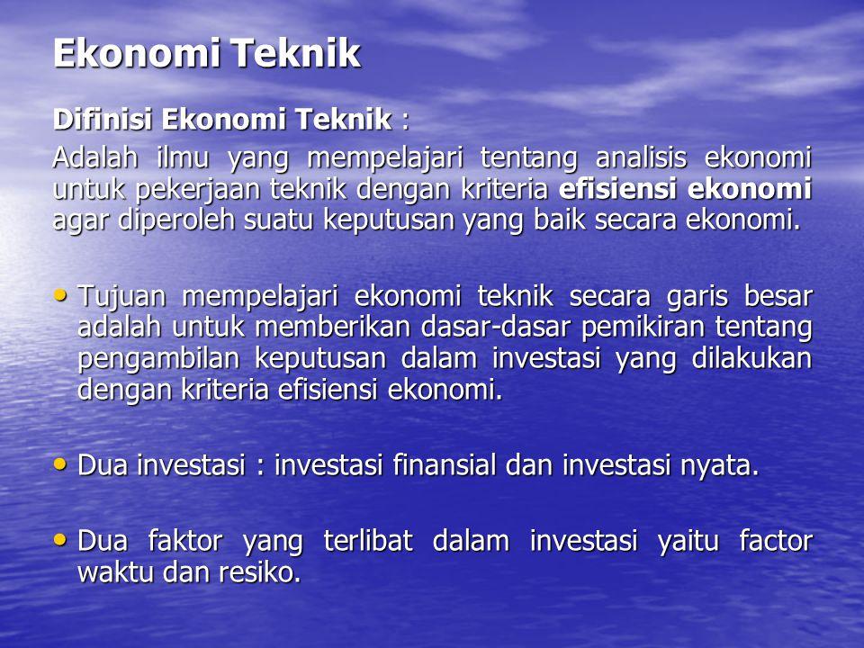 Ekonomi Teknik Difinisi Ekonomi Teknik : Adalah ilmu yang mempelajari tentang analisis ekonomi untuk pekerjaan teknik dengan kriteria efisiensi ekonom