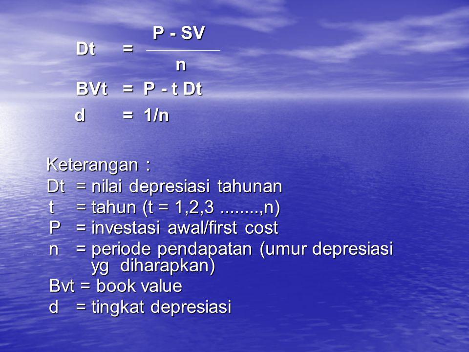 P - SV P - SV Dt = Dt = n BVt = P - t Dt BVt = P - t Dt d= 1/n d= 1/n Keterangan : Keterangan : Dt= nilai depresiasi tahunan t = tahun (t = 1,2,3.....
