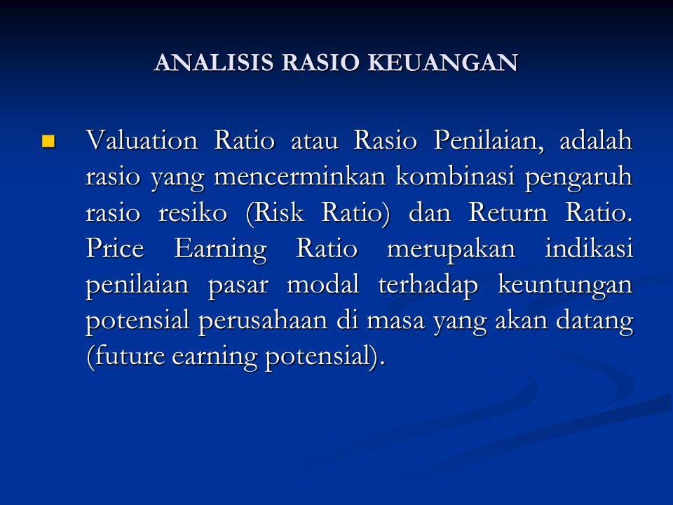 Valuation Ratio atau Rasio Penilaian, adalah rasio yang mencerminkan kombinasi pengaruh rasio resiko (Risk Ratio) dan Return Ratio.