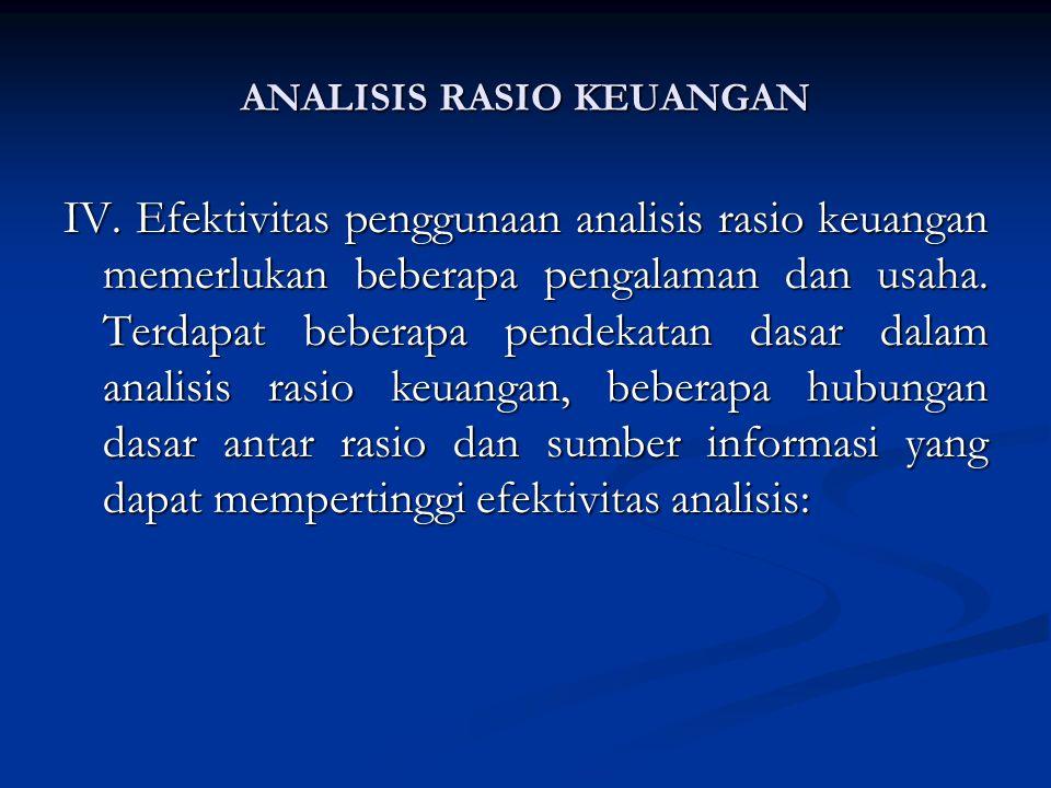 IV.Efektivitas penggunaan analisis rasio keuangan memerlukan beberapa pengalaman dan usaha.