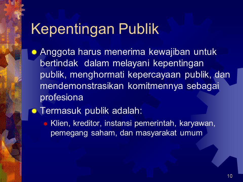 10 Kepentingan Publik  Anggota harus menerima kewajiban untuk bertindak dalam melayani kepentingan publik, menghormati kepercayaan publik, dan mendem