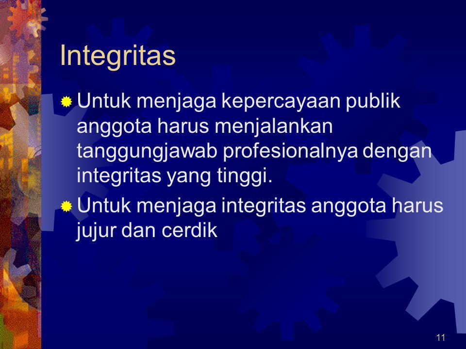 11 Integritas  Untuk menjaga kepercayaan publik anggota harus menjalankan tanggungjawab profesionalnya dengan integritas yang tinggi.  Untuk menjaga