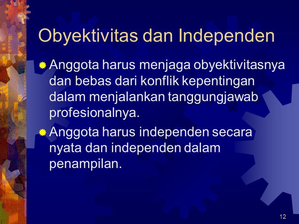 12 Obyektivitas dan Independen  Anggota harus menjaga obyektivitasnya dan bebas dari konflik kepentingan dalam menjalankan tanggungjawab profesionaln