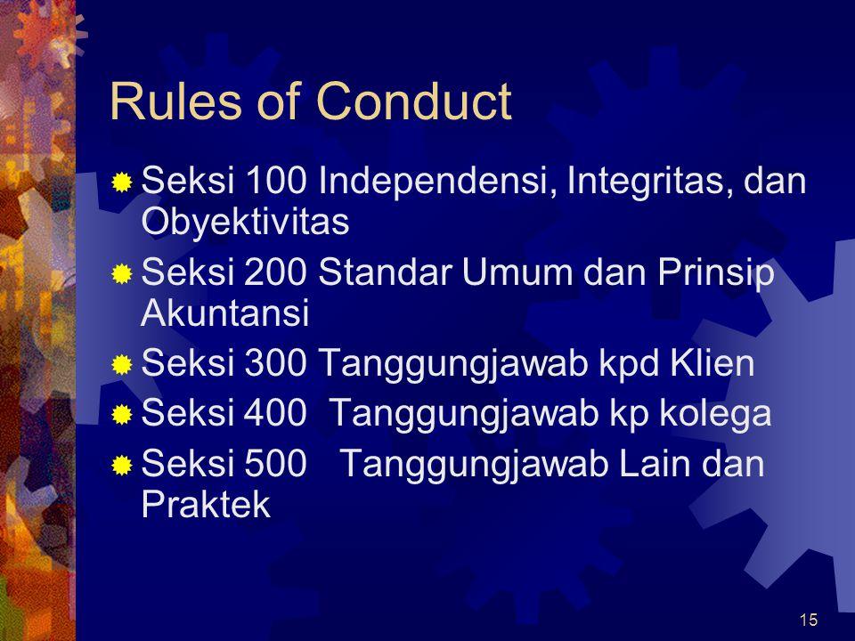 15 Rules of Conduct  Seksi 100 Independensi, Integritas, dan Obyektivitas  Seksi 200 Standar Umum dan Prinsip Akuntansi  Seksi 300 Tanggungjawab kp