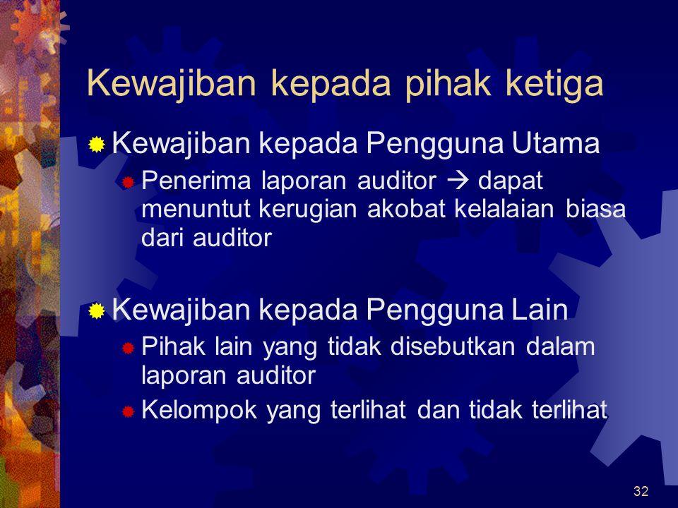 32 Kewajiban kepada pihak ketiga  Kewajiban kepada Pengguna Utama  Penerima laporan auditor  dapat menuntut kerugian akobat kelalaian biasa dari au