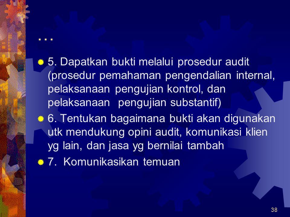 38 …  5. Dapatkan bukti melalui prosedur audit (prosedur pemahaman pengendalian internal, pelaksanaan pengujian kontrol, dan pelaksanaan pengujian su