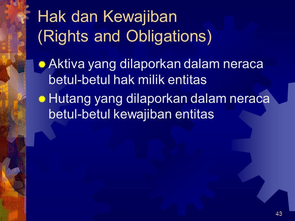 43 Hak dan Kewajiban (Rights and Obligations)  Aktiva yang dilaporkan dalam neraca betul-betul hak milik entitas  Hutang yang dilaporkan dalam nerac
