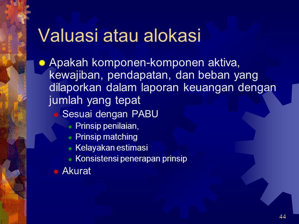 44 Valuasi atau alokasi  Apakah komponen-komponen aktiva, kewajiban, pendapatan, dan beban yang dilaporkan dalam laporan keuangan dengan jumlah yang