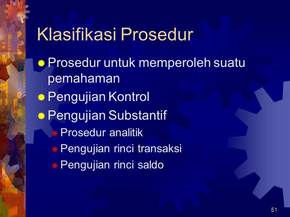 51 Klasifikasi Prosedur  Prosedur untuk memperoleh suatu pemahaman  Pengujian Kontrol  Pengujian Substantif  Prosedur analitik  Pengujian rinci t
