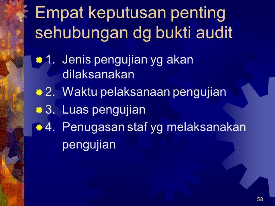 58 Empat keputusan penting sehubungan dg bukti audit  1. Jenis pengujian yg akan dilaksanakan  2. Waktu pelaksanaan pengujian  3. Luas pengujian 