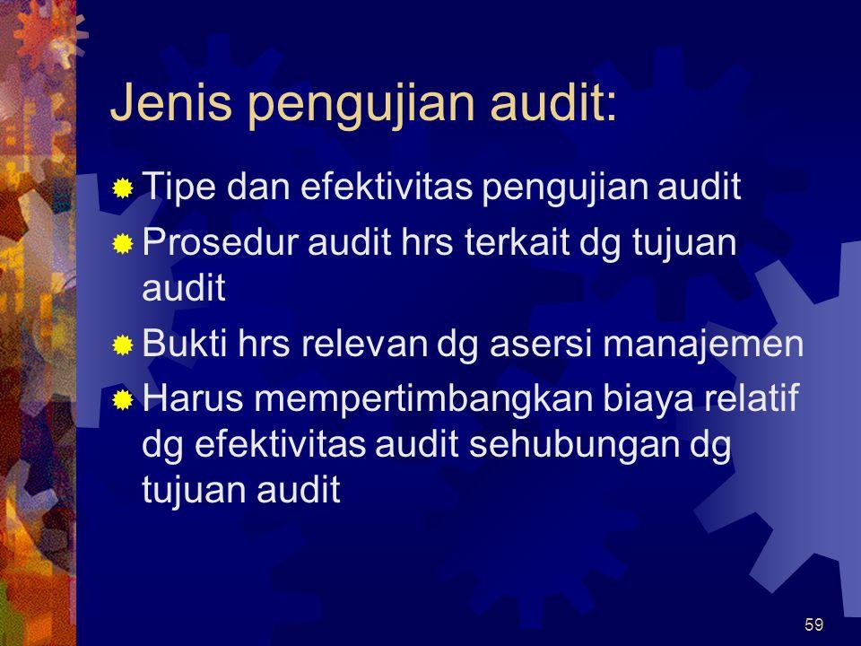 59 Jenis pengujian audit:  Tipe dan efektivitas pengujian audit  Prosedur audit hrs terkait dg tujuan audit  Bukti hrs relevan dg asersi manajemen