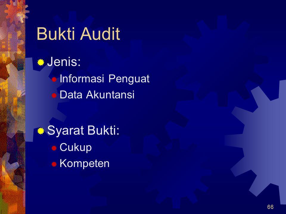 66 Bukti Audit  Jenis:  Informasi Penguat  Data Akuntansi  Syarat Bukti:  Cukup  Kompeten