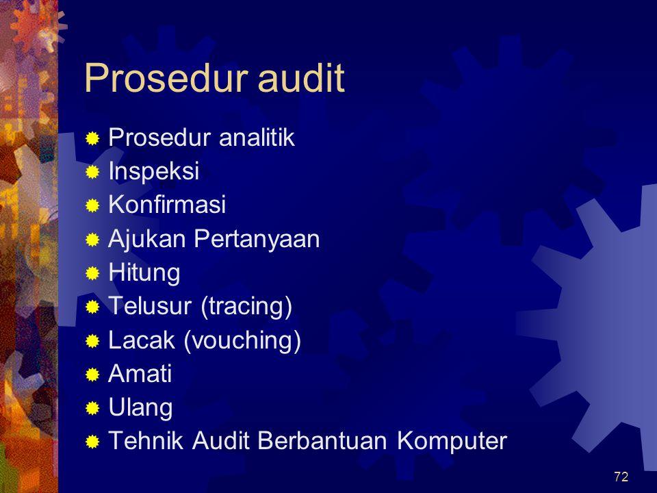 72 Prosedur audit  Prosedur analitik  Inspeksi  Konfirmasi  Ajukan Pertanyaan  Hitung  Telusur (tracing)  Lacak (vouching)  Amati  Ulang  Te