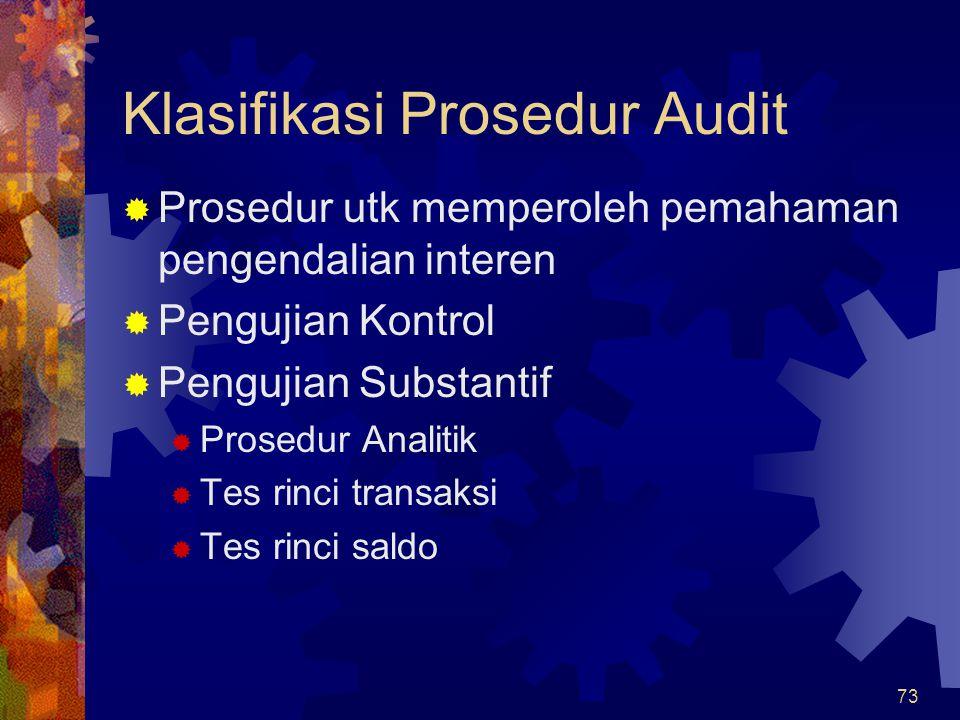 73 Klasifikasi Prosedur Audit  Prosedur utk memperoleh pemahaman pengendalian interen  Pengujian Kontrol  Pengujian Substantif  Prosedur Analitik