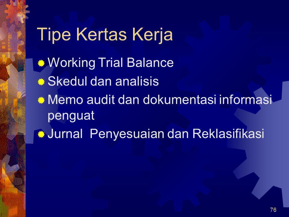 76 Tipe Kertas Kerja  Working Trial Balance  Skedul dan analisis  Memo audit dan dokumentasi informasi penguat  Jurnal Penyesuaian dan Reklasifika
