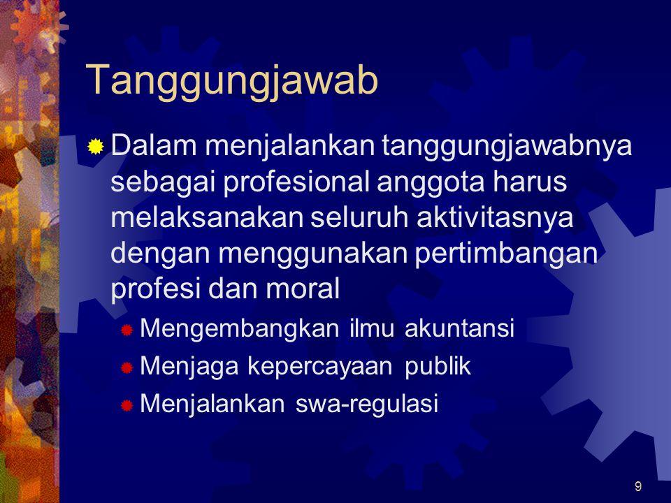 9 Tanggungjawab  Dalam menjalankan tanggungjawabnya sebagai profesional anggota harus melaksanakan seluruh aktivitasnya dengan menggunakan pertimbang