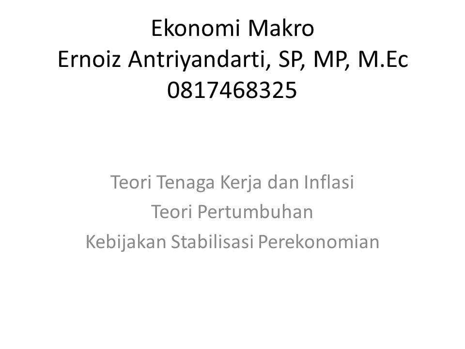 Ekonomi Makro Ernoiz Antriyandarti, SP, MP, M.Ec 0817468325 Teori Tenaga Kerja dan Inflasi Teori Pertumbuhan Kebijakan Stabilisasi Perekonomian