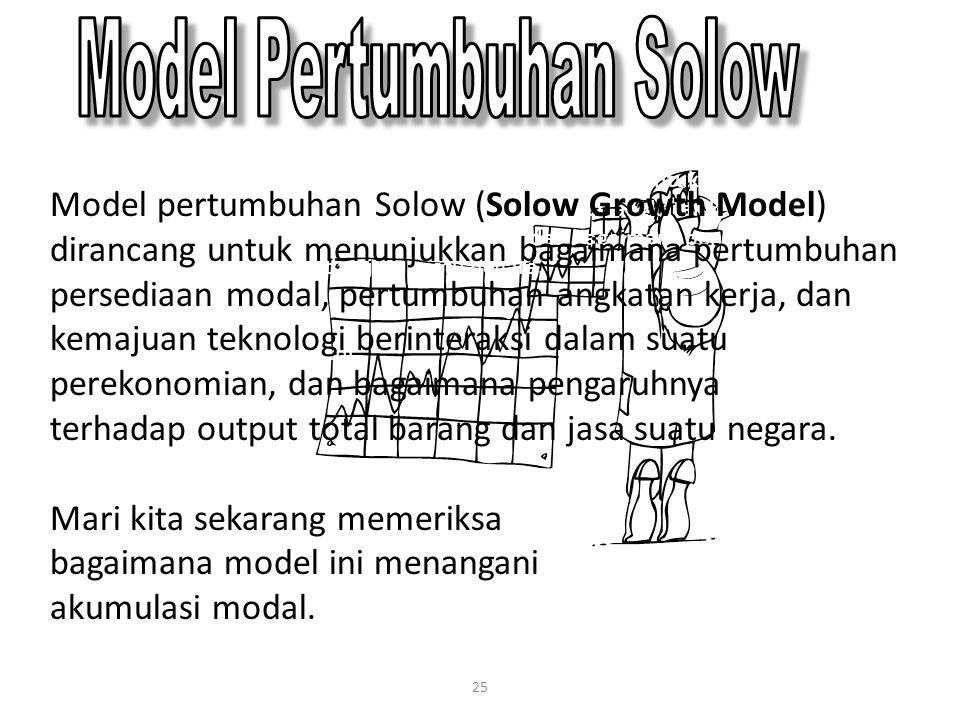 25 Model pertumbuhan Solow (Solow Growth Model) dirancang untuk menunjukkan bagaimana pertumbuhan persediaan modal, pertumbuhan angkatan kerja, dan ke