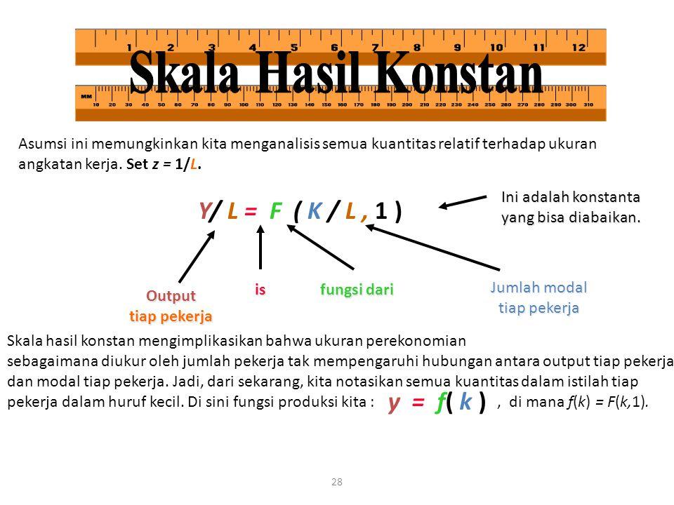 28 Asumsi ini memungkinkan kita menganalisis semua kuantitas relatif terhadap ukuran angkatan kerja. Set z = 1/L. Y/ L = F ( K / L, 1 ) Output tiap pe