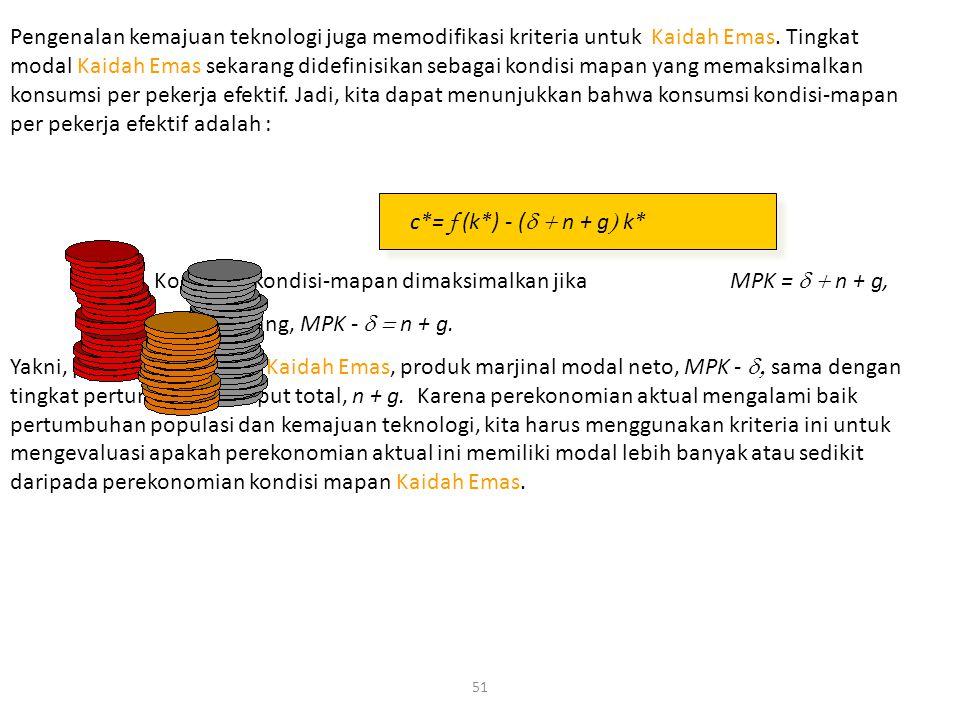 51 Konsumsi kondisi-mapan dimaksimalkan jika MPK =  n + g, disusun ulang, MPK -  n + g. Yakni, pada tingkat modal Kaidah Emas, produk marjinal