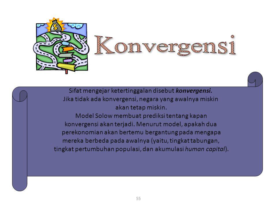 55 Sifat mengejar ketertinggalan disebut konvergensi. Jika tidak ada konvergensi, negara yang awalnya miskin akan tetap miskin. Model Solow membuat pr