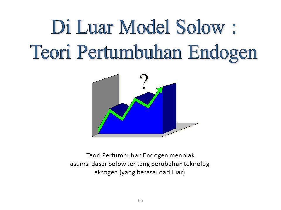 66 Teori Pertumbuhan Endogen menolak asumsi dasar Solow tentang perubahan teknologi eksogen (yang berasal dari luar).
