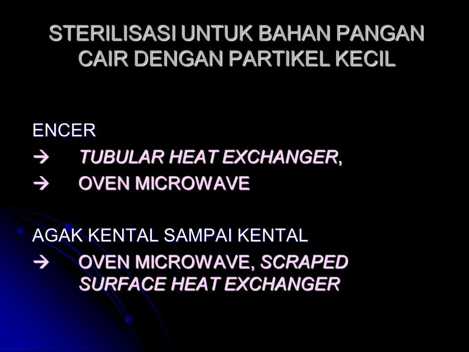 STERILISASI UNTUK BAHAN PANGAN CAIR DENGAN PARTIKEL KECIL ENCER  TUBULAR HEAT EXCHANGER,  OVEN MICROWAVE AGAK KENTAL SAMPAI KENTAL  OVEN MICROWAVE,