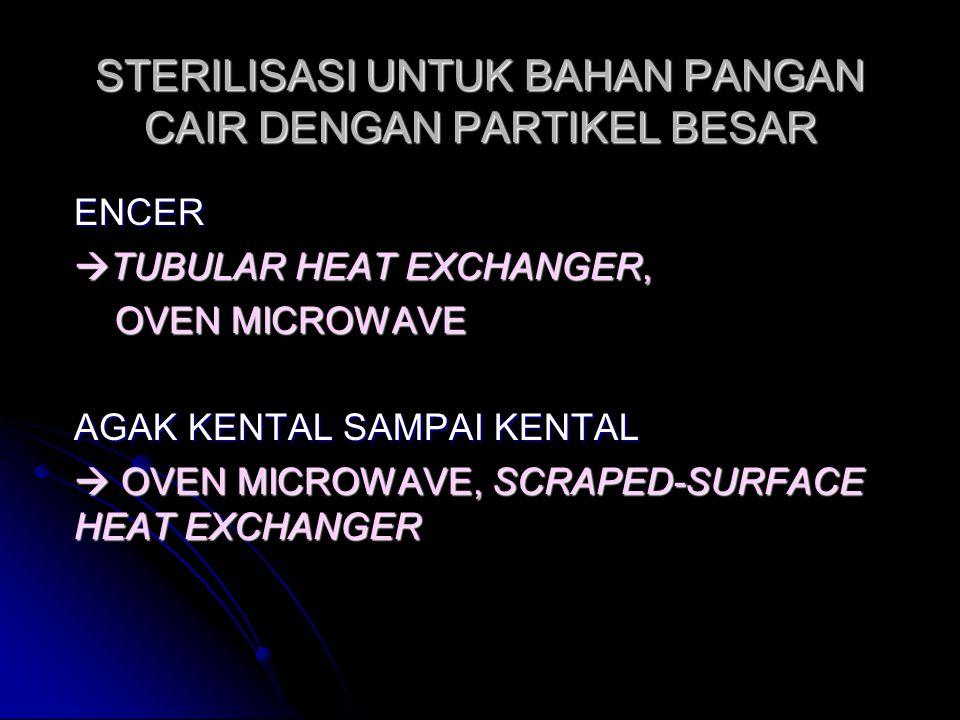 STERILISASI UNTUK BAHAN PANGAN CAIR DENGAN PARTIKEL BESAR ENCER  TUBULAR HEAT EXCHANGER, OVEN MICROWAVE OVEN MICROWAVE AGAK KENTAL SAMPAI KENTAL  OV