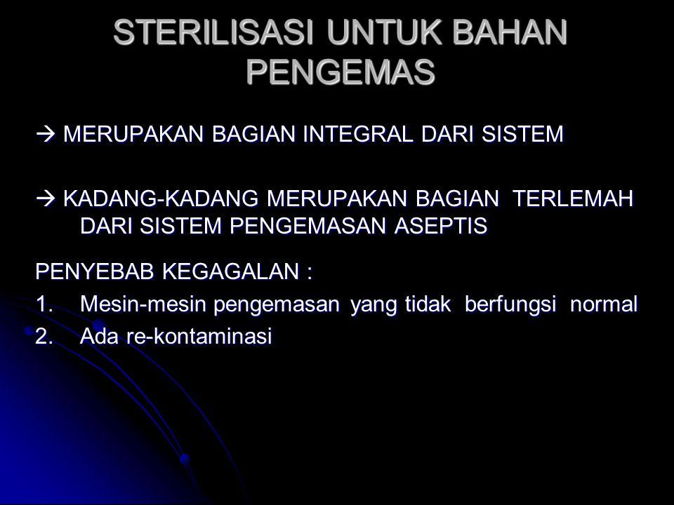 STERILISASI UNTUK BAHAN PENGEMAS  MERUPAKAN BAGIAN INTEGRAL DARI SISTEM  KADANG-KADANG MERUPAKAN BAGIAN TERLEMAH DARI SISTEM PENGEMASAN ASEPTIS PENY
