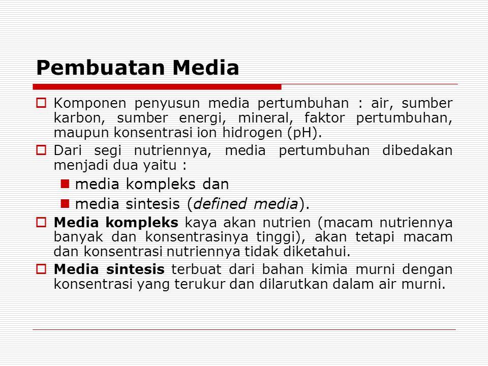 Pembuatan Media  Komponen penyusun media pertumbuhan : air, sumber karbon, sumber energi, mineral, faktor pertumbuhan, maupun konsentrasi ion hidrogen (pH).
