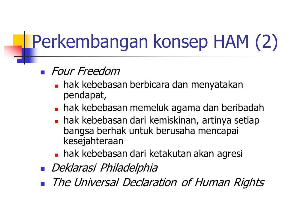 Four Freedom hak kebebasan berbicara dan menyatakan pendapat, hak kebebasan memeluk agama dan beribadah hak kebebasan dari kemiskinan, artinya setiap bangsa berhak untuk berusaha mencapai kesejahteraan hak kebebasan dari ketakutan akan agresi Deklarasi Philadelphia The Universal Declaration of Human Rights Perkembangan konsep HAM (2)
