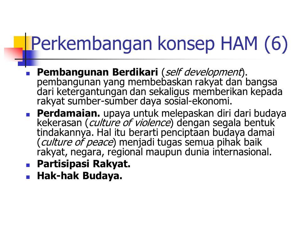 Perkembangan konsep HAM (6) Pembangunan Berdikari (self development).