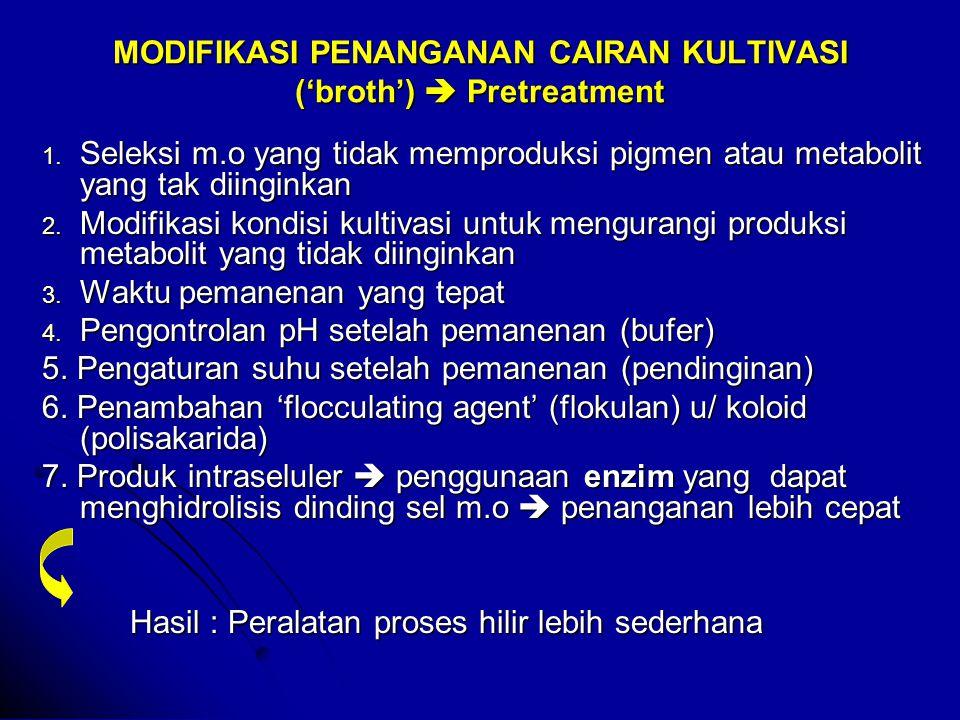 MODIFIKASI PENANGANAN CAIRAN KULTIVASI ('broth')  Pretreatment 1.
