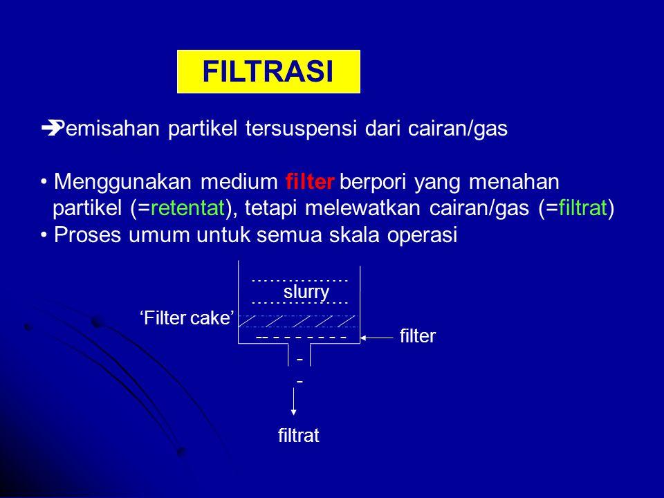  Pemisahan partikel tersuspensi dari cairan/gas Menggunakan medium filter berpori yang menahan partikel (=retentat), tetapi melewatkan cairan/gas (=filtrat) Proses umum untuk semua skala operasi filter slurry 'Filter cake' …………….