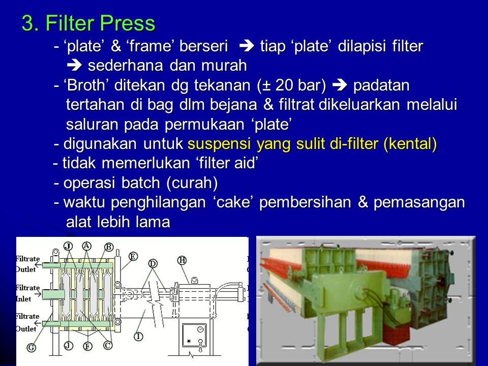 3. Filter Press - 'plate' & 'frame' berseri  tiap 'plate' dilapisi filter  sederhana dan murah  sederhana dan murah - 'Broth' ditekan dg tekanan (±