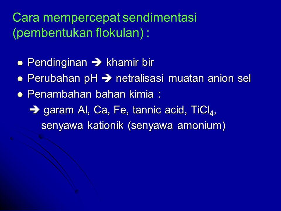 Cara mempercepat sendimentasi (pembentukan flokulan) : Pendinginan  khamir bir Pendinginan  khamir bir Perubahan pH  netralisasi muatan anion sel Perubahan pH  netralisasi muatan anion sel Penambahan bahan kimia : Penambahan bahan kimia :  garam Al, Ca, Fe, tannic acid, TiCl 4,  garam Al, Ca, Fe, tannic acid, TiCl 4, senyawa kationik (senyawa amonium) senyawa kationik (senyawa amonium)