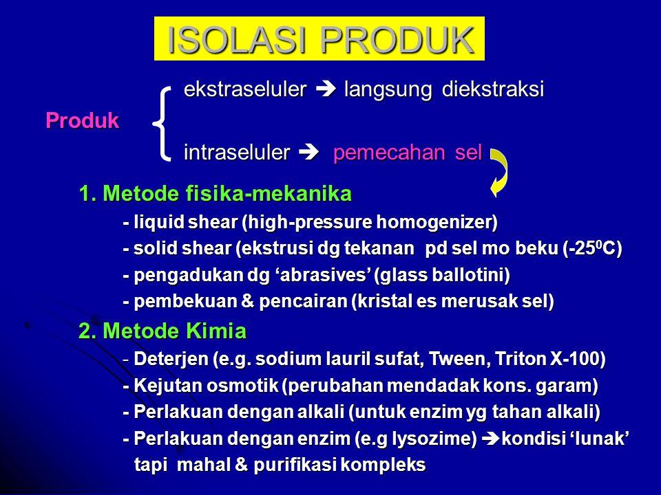 ISOLASI PRODUK ekstraseluler  langsung diekstraksi ekstraseluler  langsung diekstraksiProduk intraseluler  pemecahan sel intraseluler  pemecahan sel 1.