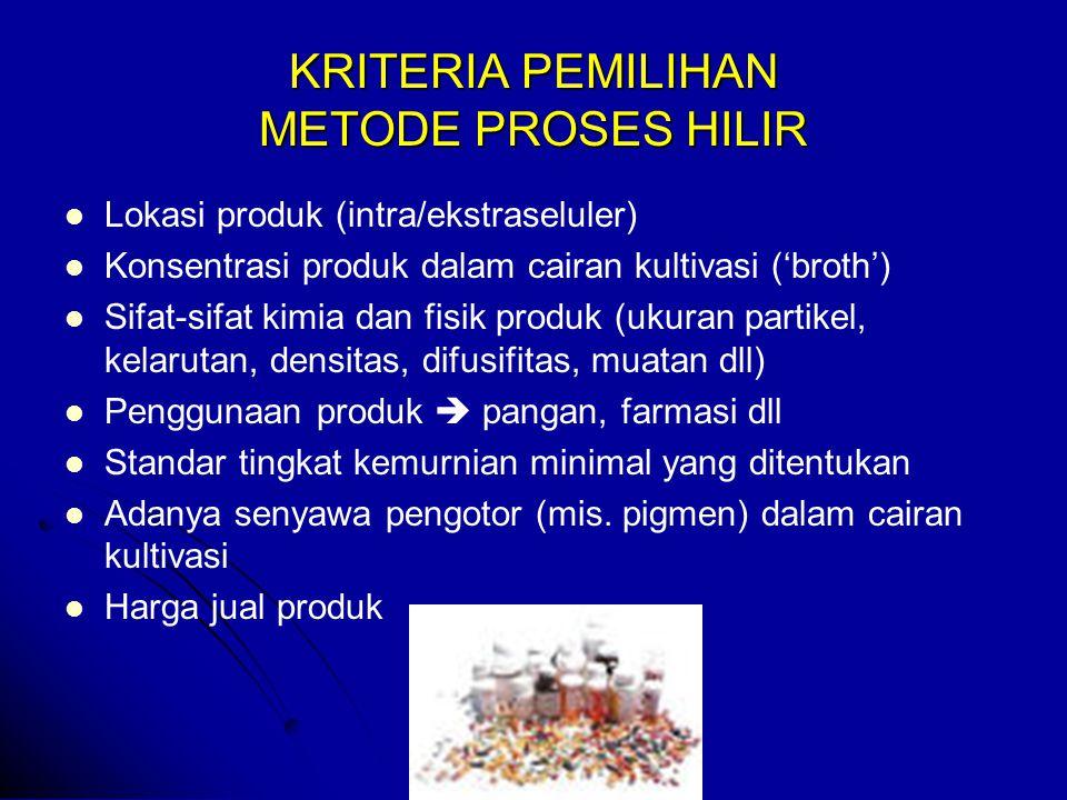 KARAKTERISTIK BIO-PRODUK 1.Konsentrasi rendah dan campuran kompleks (sel, komponen medium & produk metabolik) (sel, komponen medium & produk metabolik) Konsentrasi (g/l) Konsentrasi (g/l) - PST30-50 - Etanol70-120 - Camp.aseton/butil alkohol/etanol 18-20 - Asam organik 40-100 - Antibiotika (Penisilin G)10-30 - Antibiotika (Penisilin G)10-30 - Enzim 2 -5 - Vitamin B-12 0.02 - Riboflavin 10-15 2.